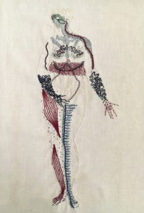 An embroidered depiction of human anatomy.